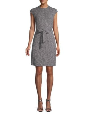 Ellen Tracy Textured Cap-Sleeve Sheath Dress