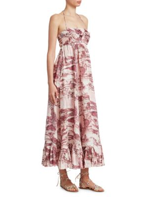9b7137611f Zimmermann Kali Printed Linen Halterneck Maxi Dress In Burgundy Multi