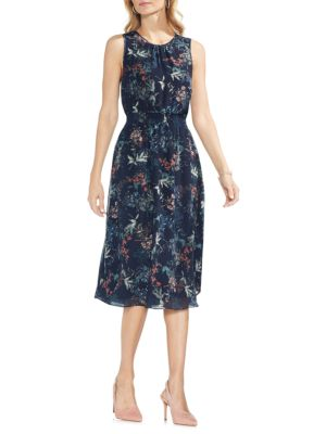 VINCE CAMUTO Sapphire Bloom Printed A-Line Dress