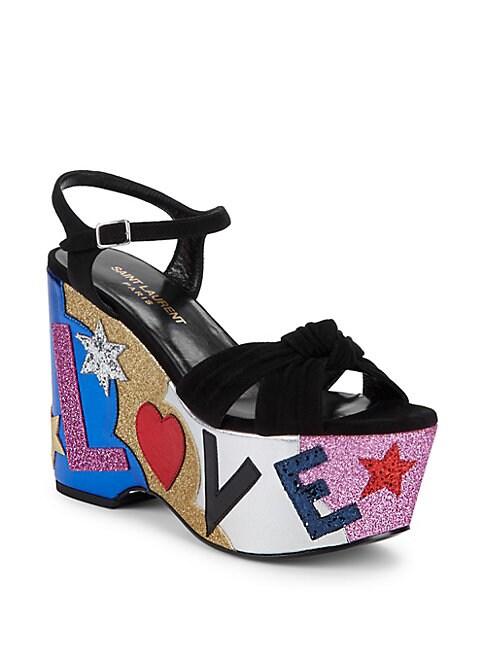 Candy Love Suede & Leather Graphic Platform Sandals, Black