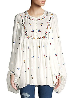 36865f7781b Free People - Kiss From A Rose Embroidered Top - saksoff5th.com