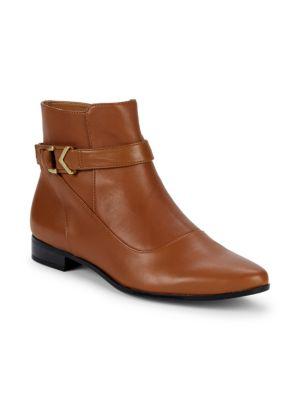 CALVIN KLEIN Farryn Buckle Ankle Booties in Cognac
