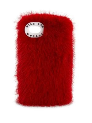 WILD AND WOOLLY Mink Fur Iphone 7 Case in Red