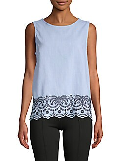 675fe3487c Saks Fifth Avenue. Embroidered Cotton Tank Top