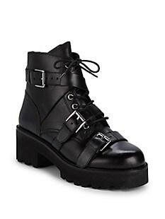 아쉬 부츠 ASH Razor Multi-Buckle Leather Combat Boots,BLACK