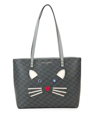 Cat Face Leather Tote in Grey Black