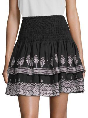 Kobi Halperin Skirts Geonna Feather Embroidery Silk Mini Skirt