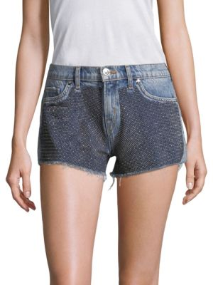 Kenzie Studded Cutoff Denim Shorts in Blue