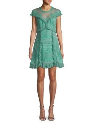Three Floor Skylight Ruffled Mini Dress