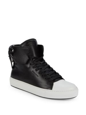 Buscemi Leather Platform High-Top Sneakers