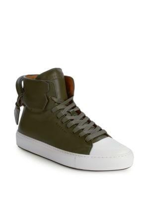 Buscemi Cap-Toe Leather High-Top Sneakers