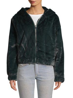 Bagatelle Tops Faux Fur Zip Hoodie
