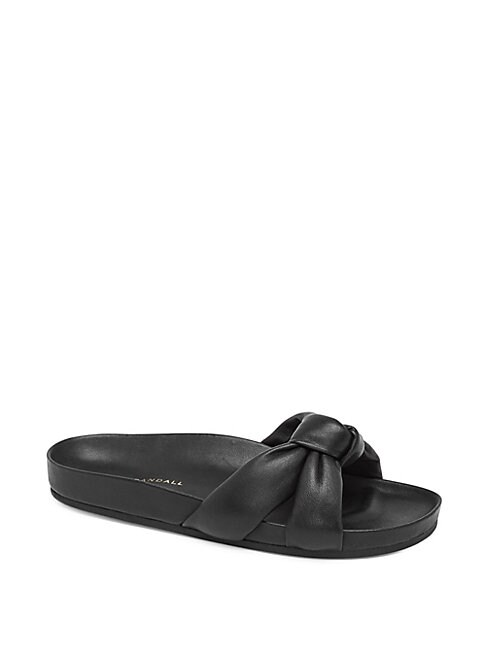 Gertie Leather Slides in Black