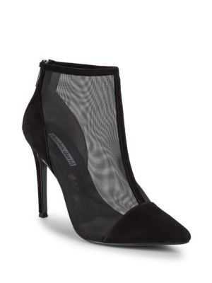 CHARLES DAVID Women'S Cashmere Pointed Toe Suede & Mesh High-Heel Ankle Booties in Black