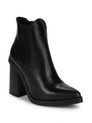 Charles David Scandal Leather Block Heel Booties