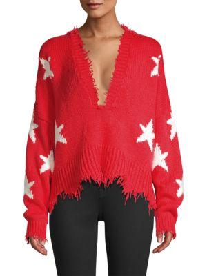 WILDFOX Stars V-Neck Sweater in Scarlet