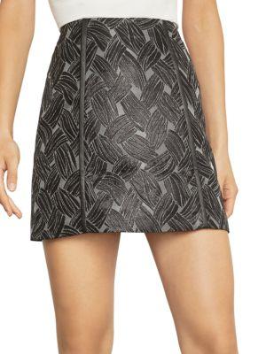 BCBGMAXAZRIA Basket Weave Jacquard Mini Skirt in Metal Black Combo