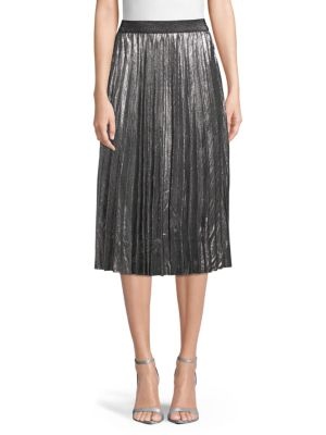 ZERO DEGREES CELSIUS Pleated A-Line Skirt in Steel