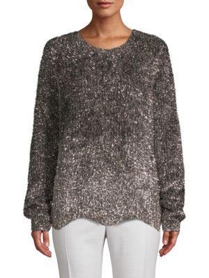 ZERO DEGREES CELSIUS Textured Sparkle Sweater in Silver Multi