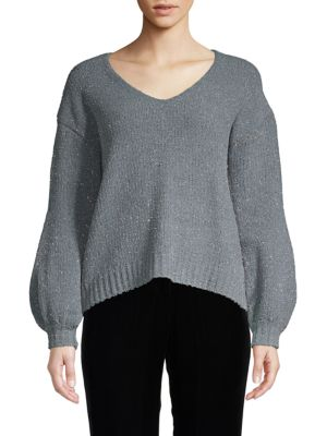 ZERO DEGREES CELSIUS High-Low Sparkle Sweater in Grey Silver