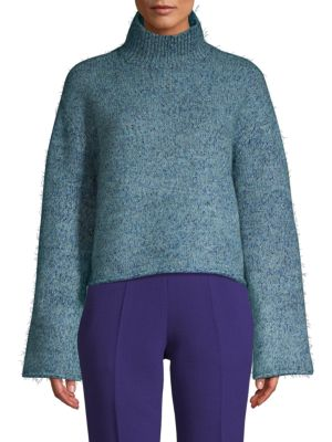 ZERO DEGREES CELSIUS Textured Cropped Turtleneck Sweater in Teal