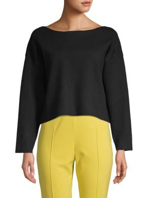 ZERO DEGREES CELSIUS Back Bow & Cutout Cropped Sweater in Black
