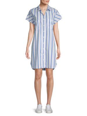 Stateside Striped Cotton Shirtdress
