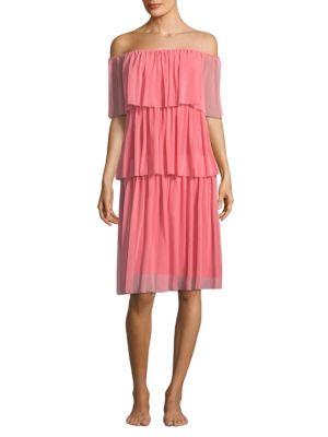 FUZZI SWIM Strapless Ruffle Dress in Pink