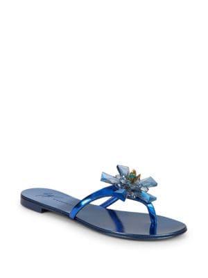 Giuseppe Zanotti Crystals Crystal Flower Metallic Thong Sandals