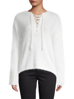 Lost + Wander Pepper Lace-Up Sweater
