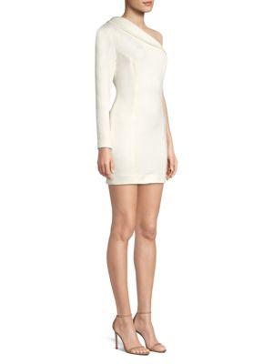 MISHA COLLECTION Amanda Asymmetric Neck Sheath Dress in Ivory