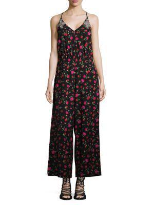 DODO BAR OR Violetta Floral-Print Jumpsuit in Black Cherry