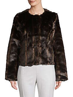 361828f51419 Striped Faux Fur Jacket DARK BROWN. QUICK VIEW. Product image