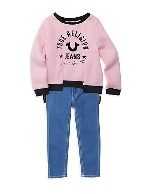 Little Girls 2Piece Logo Sweatshirt  Jeans Set