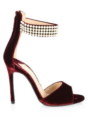 Embellished Open Toe Velvet Sandals in Burgundy