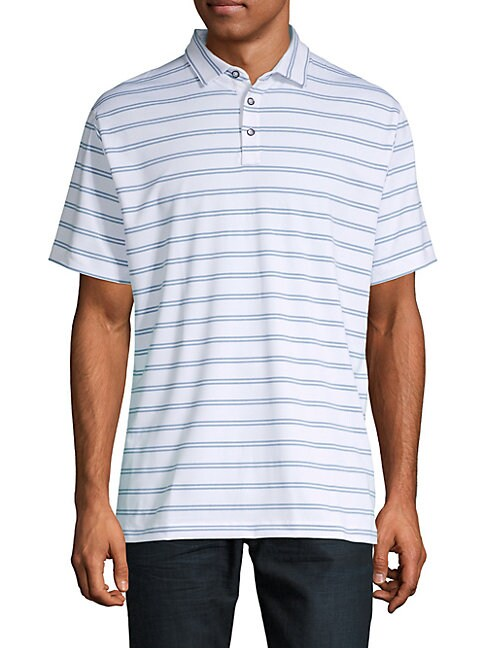 DEVEREUX | Striped Short-Sleeve Polo | Goxip