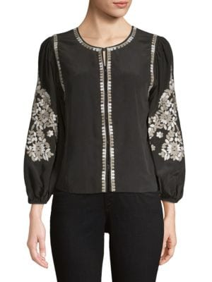 Kobi Halperin Jackets Heidi Embroidered Soft Silk Jacket