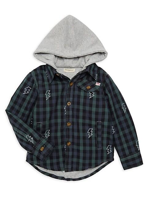 Little Boys  Boys Glen Plaid Hooded Shirt