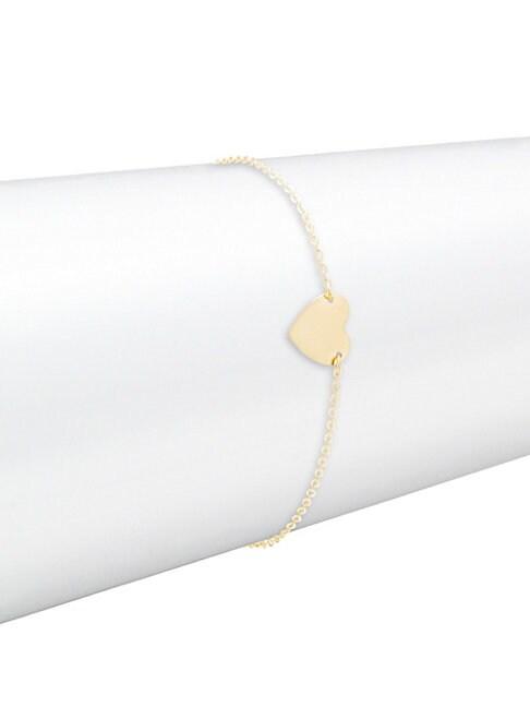 SAKS FIFTH AVENUE | 14K Yellow Gold Heart Pendant Bracelet | Goxip