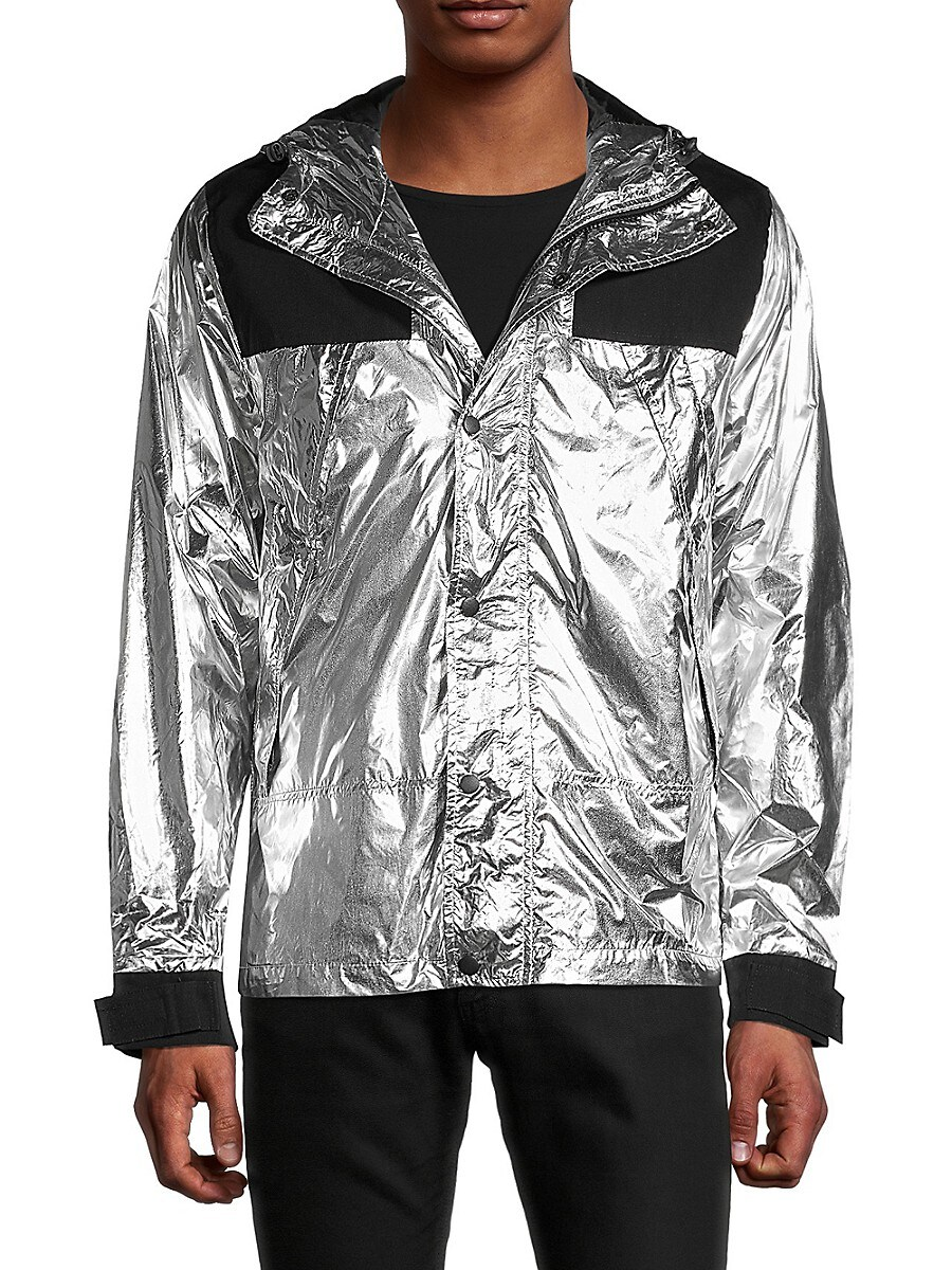 American Stitch Men's Hooded Contrast Jacket - Silver - Size S