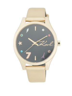 Jan Goldtone Stainless Steel Mixed Marked Leather Strap Watch