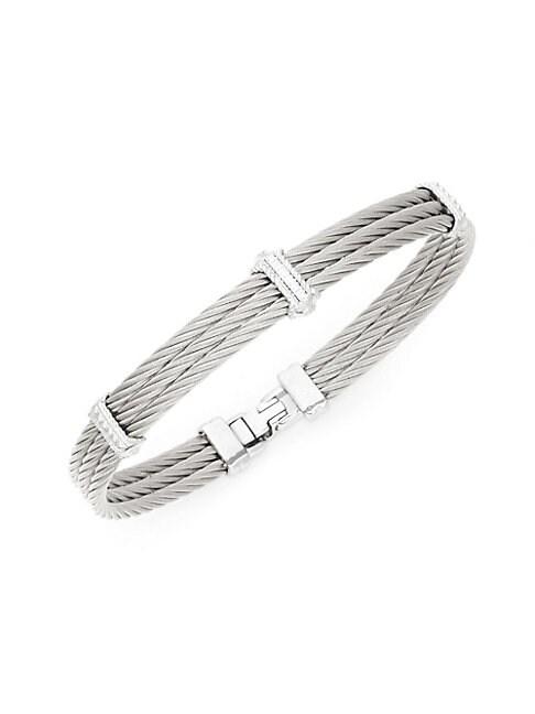ALOR   Diamond 18K White Gold Triple Cable Bracelet   Goxip