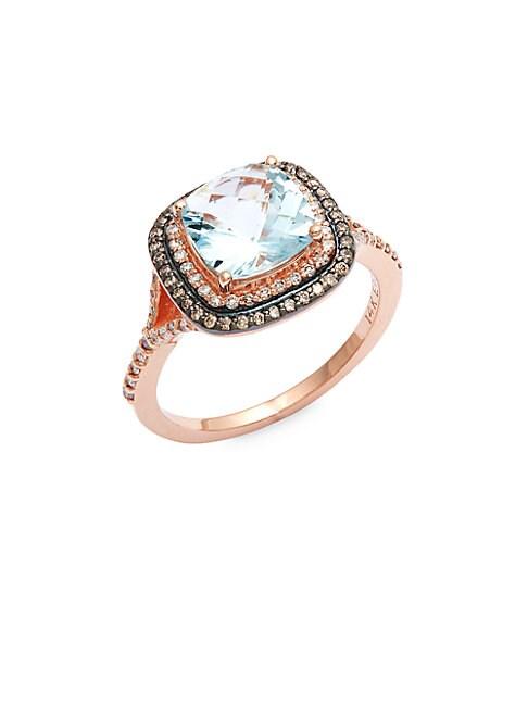 EFFY | 14K Rose Gold, Blue Topaz & Diamond Ring | Goxip