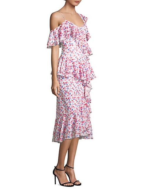 AMUR Dylan Ruffle Dress in Pink Multi