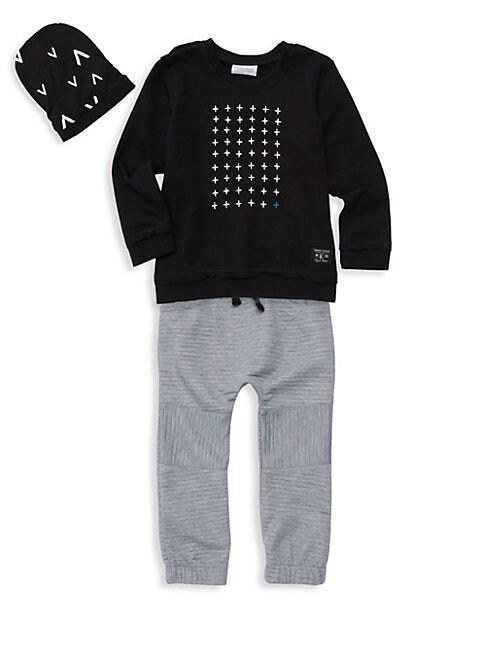 Little Boys 3Piece Graphic Sweatshirt  Jogger Set