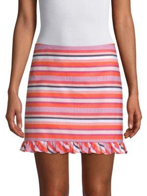 Trina Turk Skirts Striped Ruffled Mini Skirt