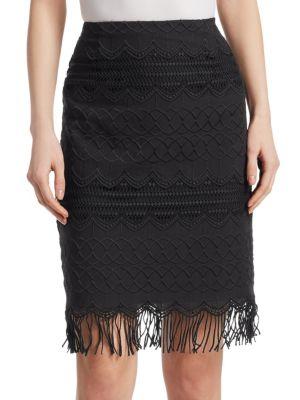 Nanette Lepore Cottons High-Rise Cotton Pencil Skirt