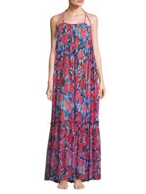 FUZZI SWIM Floral Print Maxi Dress in Navy