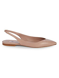 61f55610a3bf39 Point-Toe Leather Slingback Flats CAPPUCCINO. Product image