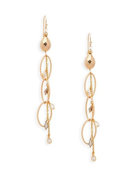 ALANNA BESS | 18K Gold Vermeil, Pyrite & Crystal Quartz Triple Drop Dangle Earrings | Goxip